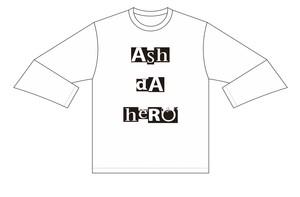タイポグラフィ ロングTシャツ【White】《ASHデザイン》